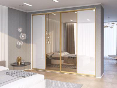 Шкаф-Купе в спальную комнату  Зеркало+белые двери