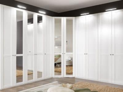 Шкаф-Распашной Угловой Белый с Зеркалами