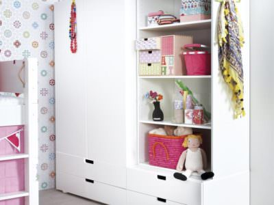 Шкаф-Распашной для Детской с Полками Для Книг Белого цвета